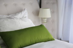 Pillows on beds in hotel boutique Royalty Free Stock Images