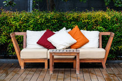 Pillows on a bench Royalty Free Stock Photos