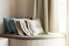 Pillows On Build-In Sofa In The Living Room Royalty Free Stock Photography