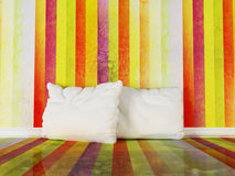 Pillows in the colorful room Stock Photos