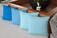 Pillows on the couch. Pillows on the sofa against the background of day window Stock Photo