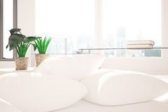 Pillows and decorative plants. Close up of pillows and decorative plants on white couch. Window with city view background. Comfort concept. 3D Rendering Royalty Free Stock Photo