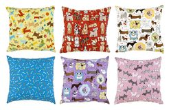 Pillows with dog designs stock images