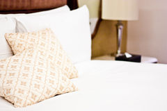 Pillows in Hotel bedroom Stock Photography