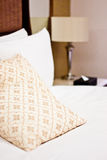 Pillows in Hotel bedroom Stock Images
