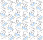 Pillows. Illustration of good night wishes. Seamless pattern. Pillows. Illustration of good night wishes. Seamless pattern for background, Wallpaper, packaging Stock Photos