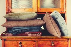 Pillows Lie Buffet House Furniture Storage Retro Stock Photo