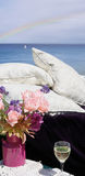 Pillows by ocean view Stock Photo