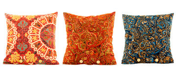 Pillows, pillows multi colored with patterns stock image