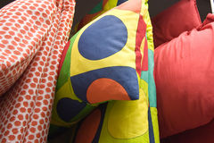 Pillows and quilts. Some colorful pillows and quilts Royalty Free Stock Photo
