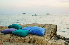 Pillows by the sea Royalty Free Stock Photos