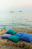 Pillows by the sea Royalty Free Stock Image