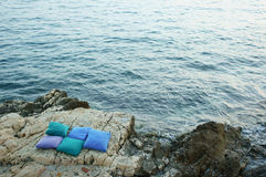 Pillows by the sea Royalty Free Stock Images