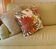 Pillows on Sofa Stock Photos
