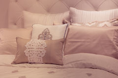 Pillows. Soft toned plush bed pillows Royalty Free Stock Photos