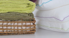 Pillows and towels Stock Image