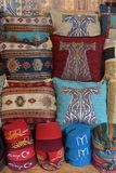 Pillows, turkish market. Colorful arabic pillows and carpets Royalty Free Stock Image