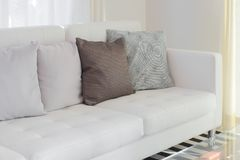 Pillows on white sofa in living room royalty free stock photo