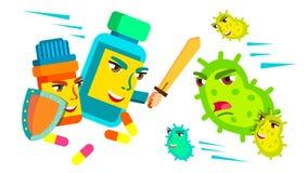Pillret som slåss med svärdet och skölden mot bakterier som anfaller den, läkarundersökning skyddar begreppsvektorn Isolerad teck royaltyfri illustrationer