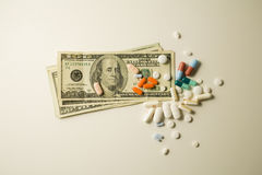 Pills. The cost of prescription drugs Stock Photo