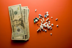 Pills. The cost of prescription drugs Stock Photos