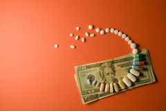 Pills. The cost of prescription drugs Royalty Free Stock Photo