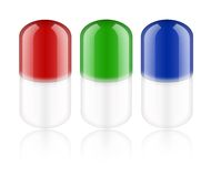 Pills. Colour pills on white background. Medication Royalty Free Stock Image