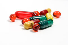 Pills. Group by a pill: red, green, yellow color Royalty Free Stock Image