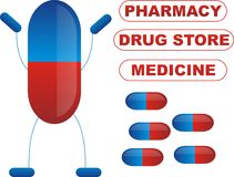 Pills. Happy Pill illustration blue and red colors Stock Photography