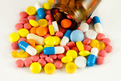Pills. A lot of isolated pills and medicines Stock Image