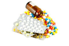 Pills. A lot of isolated pills and medicines Stock Photos