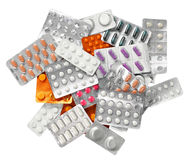 Pills. Packs of different pills, isolated on white Stock Photography