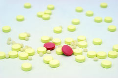 Pills. Of different shapes and colors Royalty Free Stock Image