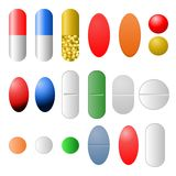 Pills. Various pills isolated on white background Royalty Free Stock Image