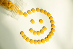 Pills. Smiling face made from pills stock photo