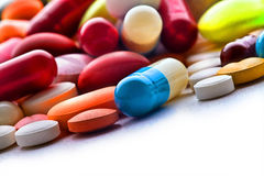 Pills. Some white pills and tablets Royalty Free Stock Image