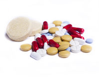 Pills. Some colored pills over white royalty free stock photo
