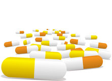 Pills. Illustrated pills selection in yellow and orange with a sense of perspective Stock Photo