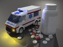 pills 3d och liten ambulans Royaltyfria Foton