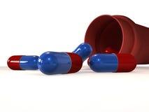 Pills - 3d render. Red blue pills coming out of a medicine bottle - 3d render illustration vector illustration