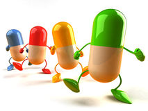 Pills. Happy pills, happy medicine, 3d generated picture vector illustration