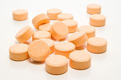 Pills. Bunch of pills on white background stock image
