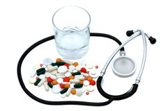 Pills. Medicine pills and stethoscope doctor Stock Photo