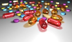 Pills. Closeup of colorful transparent pills Royalty Free Stock Images