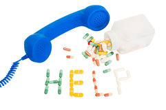 Pills addicted call for help Royalty Free Stock Photo