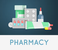 Pills against diseases vector set. Pills in your medicine chest. Stock Photography