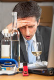 Pills and alcohol abuse in business Royalty Free Stock Image