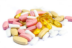 Pills for all ills. Selection of tablets to aid healthy life Royalty Free Stock Photography