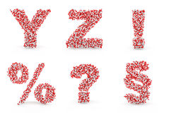 Pills alphabet Y Z exclamation percent question section Royalty Free Stock Photos