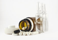Pills and ampulas Royalty Free Stock Photography